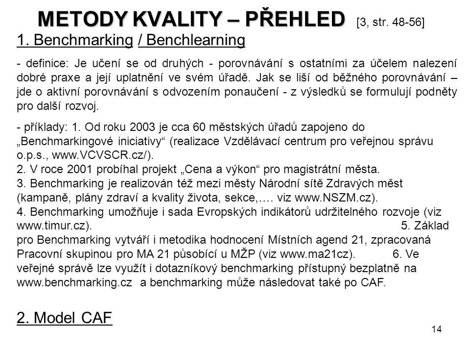 METODY KVALITY – PŘEHLED [3, str. 48-56]